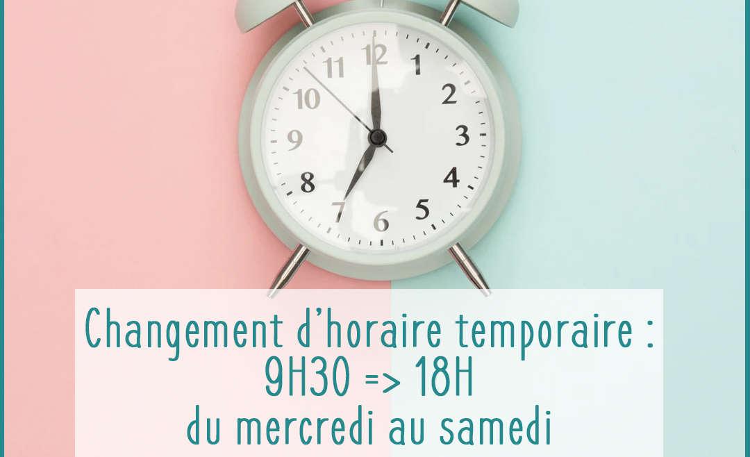 Horaires temporaires